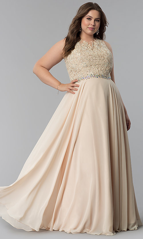 Beaded-Lace-Applique Plus-Size Long Prom dress