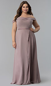 Image of off-the-shoulder plus-size long chiffon formal dress. Style: FB-GL1522P Front Image