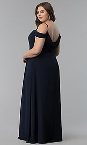 Image of off-the-shoulder plus-size long chiffon formal dress. Style: FB-GL1522P Detail Image 4