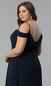 Image of off-the-shoulder plus-size long chiffon formal dress. Style: FB-GL1522P Detail Image 6