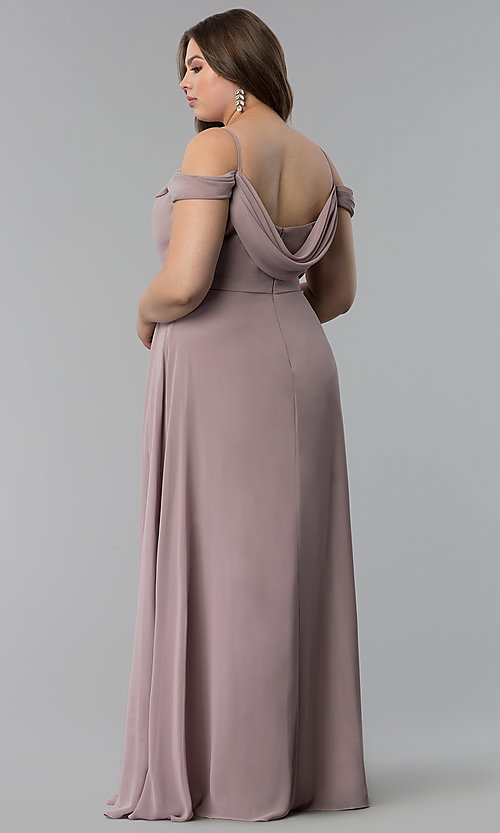 Image of off-the-shoulder plus-size long chiffon formal dress. Style: FB-GL1522P Back Image