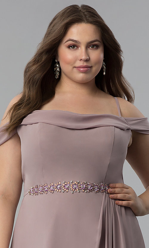 Image of off-the-shoulder plus-size long chiffon formal dress. Style: FB-GL1522P Detail Image 1