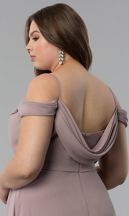 Image of off-the-shoulder plus-size long chiffon formal dress. Style: FB-GL1522P Detail Image 2