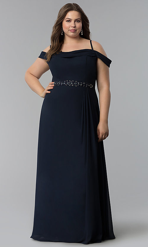 Image of off-the-shoulder plus-size long chiffon formal dress. Style: FB-GL1522P Detail Image 3