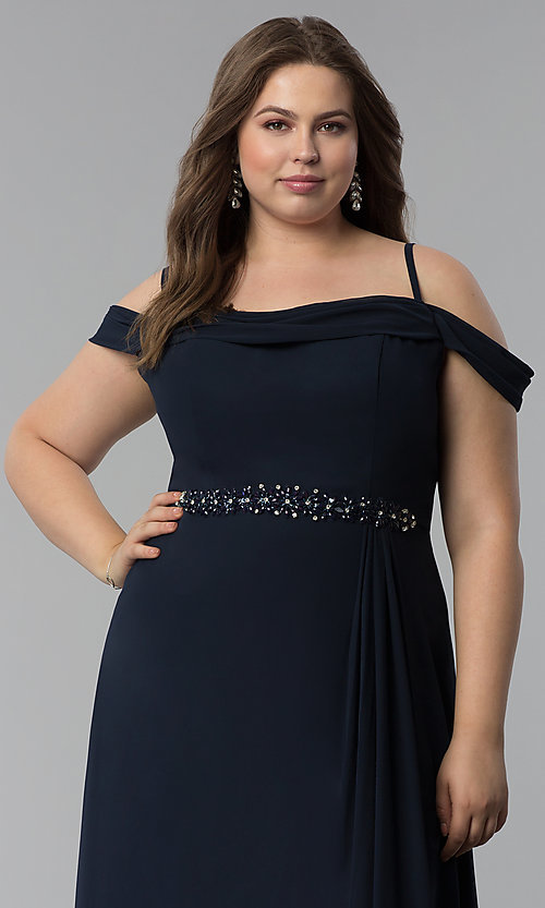 Image of off-the-shoulder plus-size long chiffon formal dress. Style: FB-GL1522P Detail Image 5