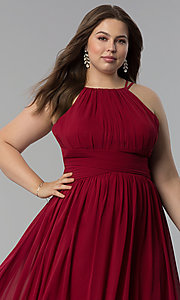 Image of plus-size ruched-waist long military ball dress. Style: FB-GL1524P Detail Image 5