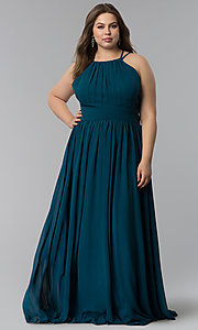 Image of plus-size ruched-waist long military ball dress. Style: FB-GL1524P Front Image