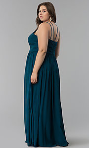 Image of plus-size ruched-waist long military ball dress. Style: FB-GL1524P Back Image