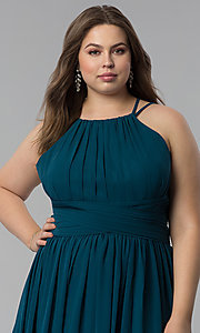 Image of plus-size ruched-waist long military ball dress. Style: FB-GL1524P Detail Image 1