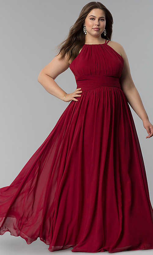 Image of plus-size ruched-waist long military ball dress. Style: FB-GL1524P Detail Image 3