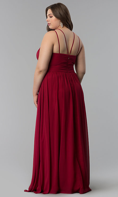Image of plus-size ruched-waist long military ball dress. Style: FB-GL1524P Detail Image 4