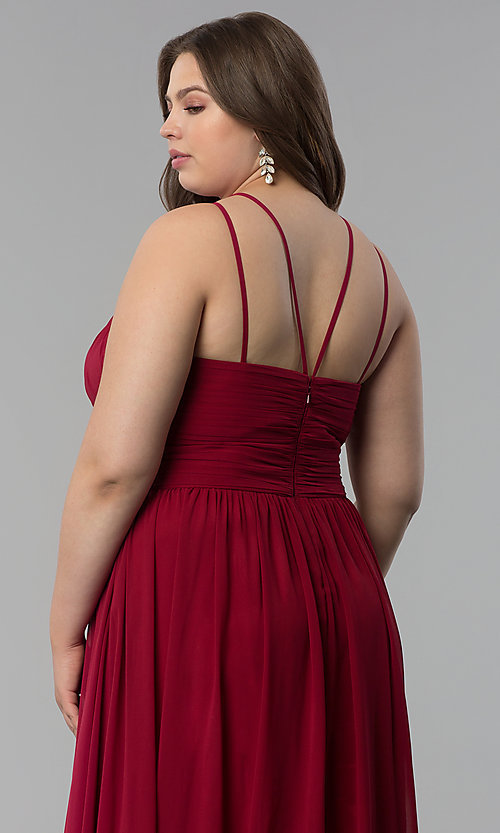 Image of plus-size ruched-waist long military ball dress. Style: FB-GL1524P Detail Image 6