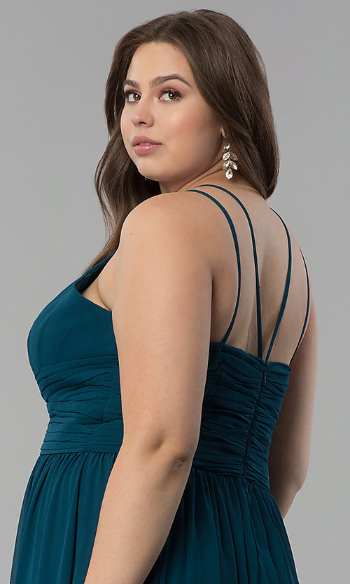 Image of plus-size ruched-waist long military ball dress. Style: FB-GL1524P Detail Image 2