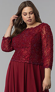 Image of long plus-size lace-bodice prom dress with sleeves. Style: FB-GL1509P Detail Image 1