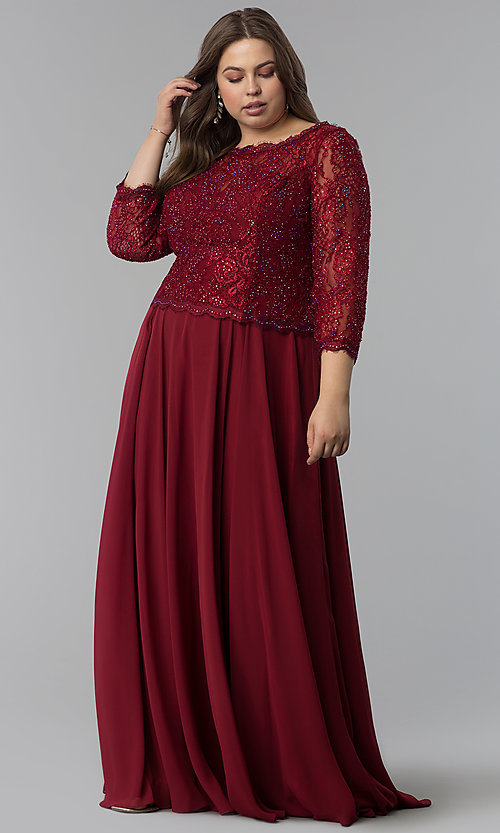 Image of long plus-size lace-bodice prom dress with sleeves. Style: FB-GL1509P Front Image