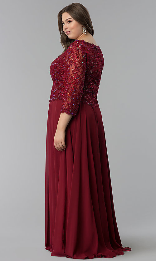 Image of long plus-size lace-bodice prom dress with sleeves. Style: FB-GL1509P Back Image