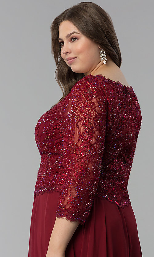 Image of long plus-size lace-bodice prom dress with sleeves. Style: FB-GL1509P Detail Image 2