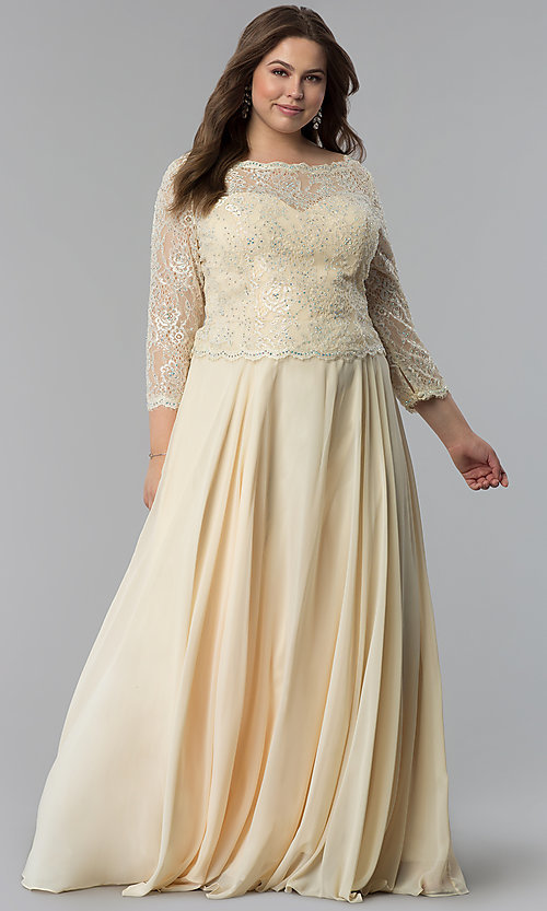 Image of long plus-size lace-bodice prom dress with sleeves. Style: FB-GL1509P Detail Image 3