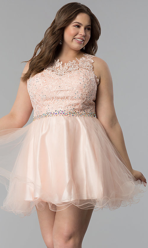 Image of plus-size lace-bodice short scoop-neck prom dress.  Style: FB-GS2375P Front Image