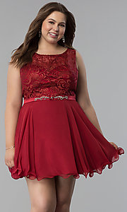Image of chiffon plus-size short semi-formal dress. Style: FB-GS2314P Front Image