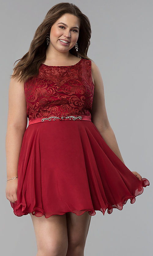7b3d555dfef Image of chiffon plus-size short semi-formal dress. Style  FB-