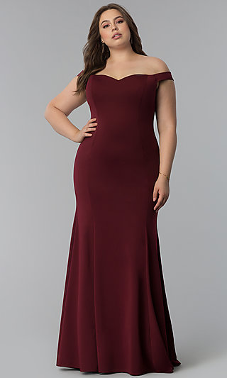 Off-the-Shoulder Plus-Size Long Mermaid Prom Dress