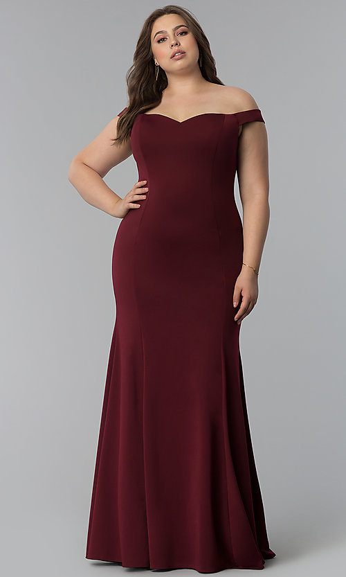 ea364b3f55 Image of off-the-shoulder plus-size long mermaid prom dress. Style