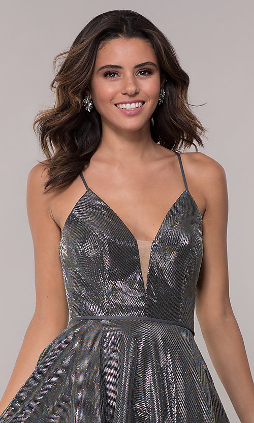Image of short JVN by Jovani metallic homecoming dress. Style: JO-JVN-JVN65632 Detail Image 5