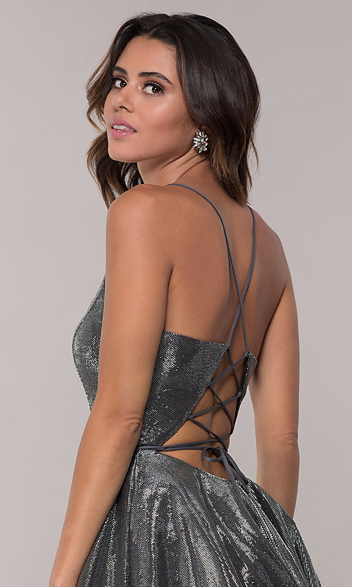 Image of short JVN by Jovani metallic homecoming dress. Style: JO-JVN-JVN65632 Detail Image 6