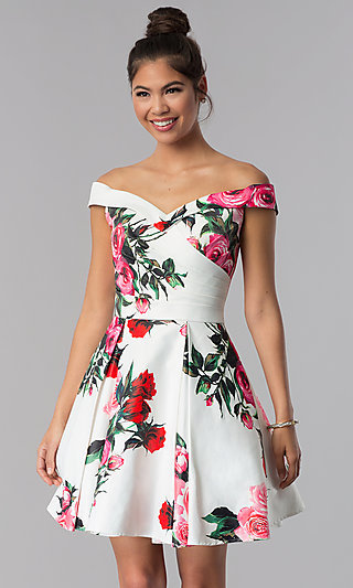 JVN by Jovani Off-Shoulder Floral-Print Hoco Dress