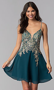 Image of short teal JVNX by Jovani homecoming party dress. Style: JO-JVNX65162 Front Image