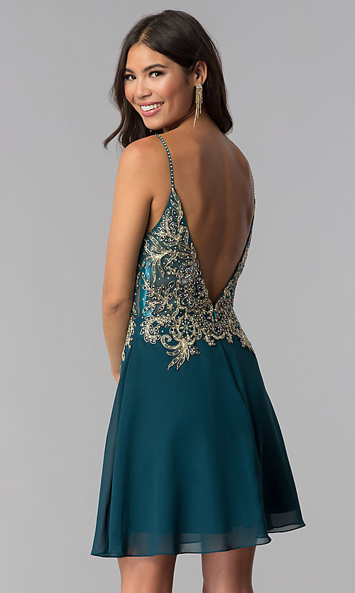 Image of short teal JVNX by Jovani homecoming party dress. Style: JO-JVNX65162 Back Image