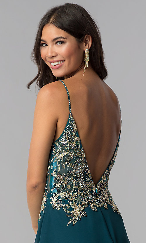 Image of short teal JVNX by Jovani homecoming party dress. Style: JO-JVNX65162 Detail Image 2