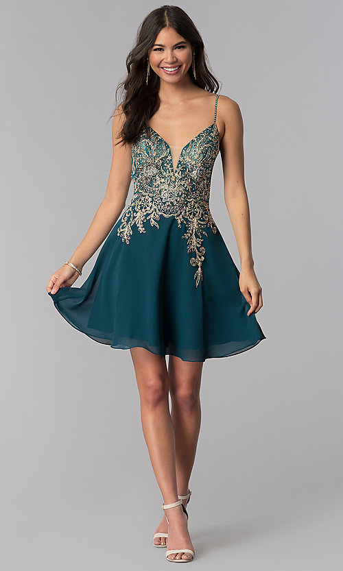 Image of short teal JVNX by Jovani homecoming party dress. Style: JO-JVNX65162 Detail Image 3