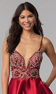 Image of JVNX by Jovani deep-v-neck beaded-bodice hoco dress. Style: JO-JVNX53168 Detail Image 2