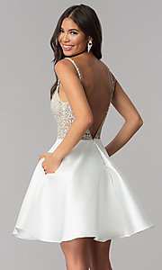 Image of JVNX by Jovani deep-v-neck beaded-bodice hoco dress. Style: JO-JVNX53168 Back Image
