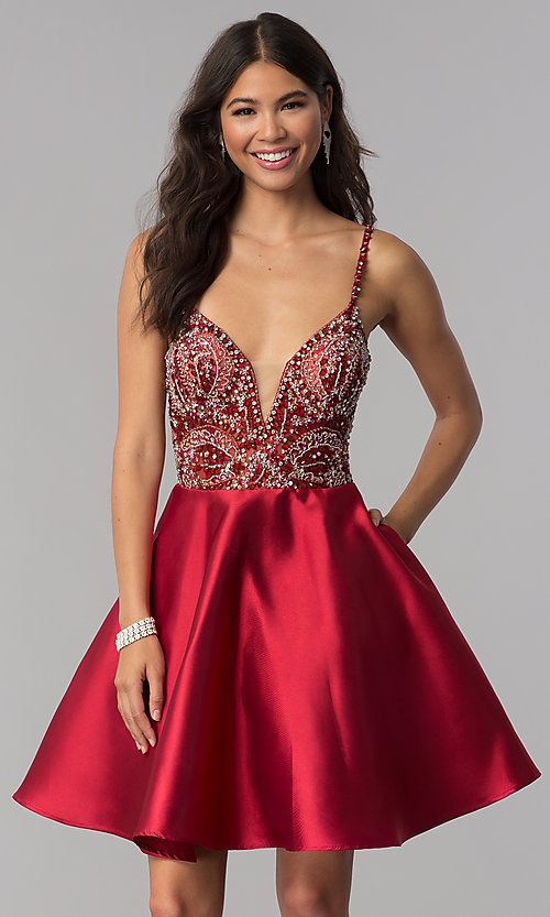 Image of JVNX by Jovani deep-v-neck beaded-bodice hoco dress. Style: JO-JVNX53168 Detail Image 1