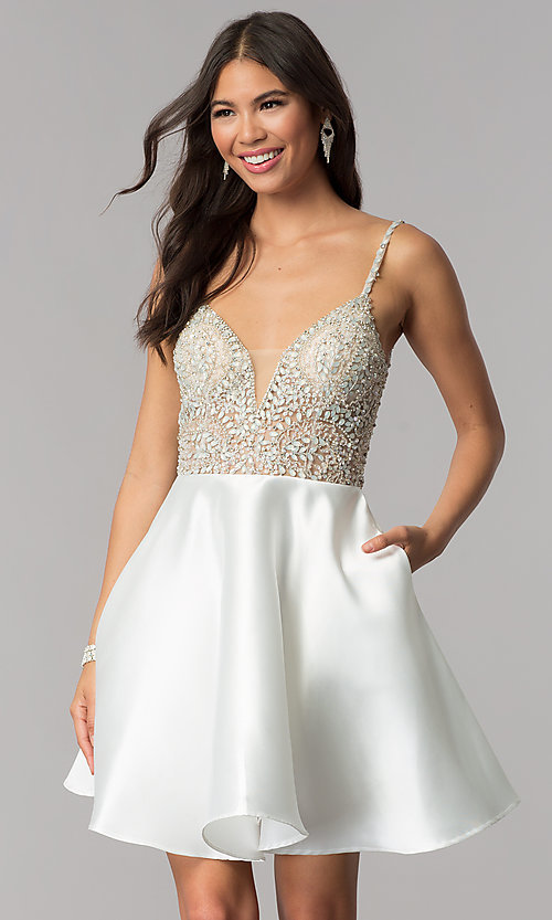 Image of JVNX by Jovani deep-v-neck beaded-bodice hoco dress. Style: JO-JVNX53168 Front Image