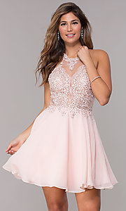 Image of short JVNX by Jovani Chiffon Homecoming Party Dress Style: JO-JVNX62596 Front Image