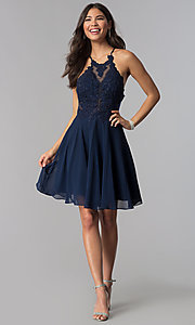 Image of short JVNX by Jovani Chiffon Homecoming Party Dress Style: JO-JVNX62596 Detail Image 3
