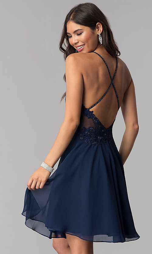 Image of short JVNX by Jovani Chiffon Homecoming Party Dress Style: JO-JVNX62596 Back Image