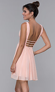 Image of short ruched-bodice homecoming dress in blush pink. Style: JO-JVNX66469 Back Image