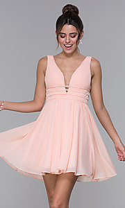 Image of short ruched-bodice homecoming dress in blush pink. Style: JO-JVNX66469 Front Image