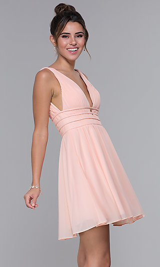 Short Ruched-Bodice Homecoming Dress in Blush Pink