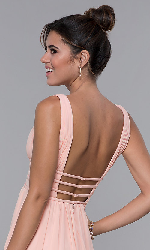 Image of short ruched-bodice homecoming dress in blush pink. Style: JO-JVNX66469 Detail Image 2