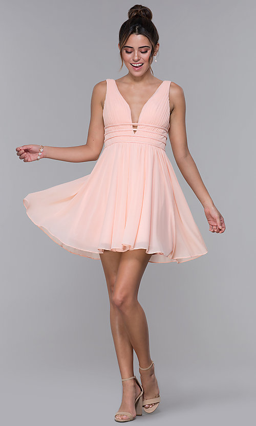 Image of short ruched-bodice homecoming dress in blush pink. Style: JO-JVNX66469 Detail Image 3