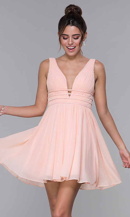 f4d996d8de6 Image of short ruched-bodice homecoming dress in blush pink. Style: JO-