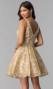 Image of JVNX by Jovani v-neck gold glitter homecoming dress. Style: JO-JVNX65985 Back Image