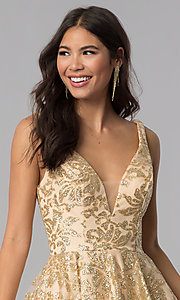 Image of JVNX by Jovani v-neck gold glitter homecoming dress. Style: JO-JVNX65985 Detail Image 1