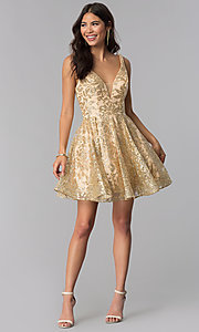Image of JVNX by Jovani v-neck gold glitter homecoming dress. Style: JO-JVNX65985 Detail Image 3